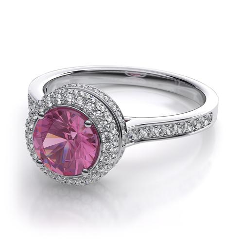 粉紅剛玉鑽石婚戒