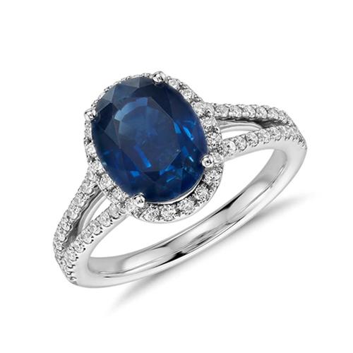 藍寶石環鑽婚戒