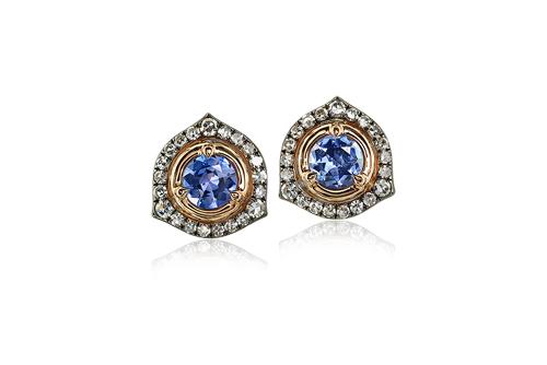 IVY New York淡藍色尖晶石鑽石耳環